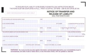 Notice Of Transfer And Release Of Liability >> Release Of Liability Dmv Reg 138 Transfer Car Title