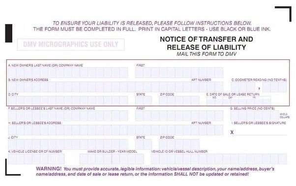 Release of Liability - DMV Reg 138 - Transfer Car Title